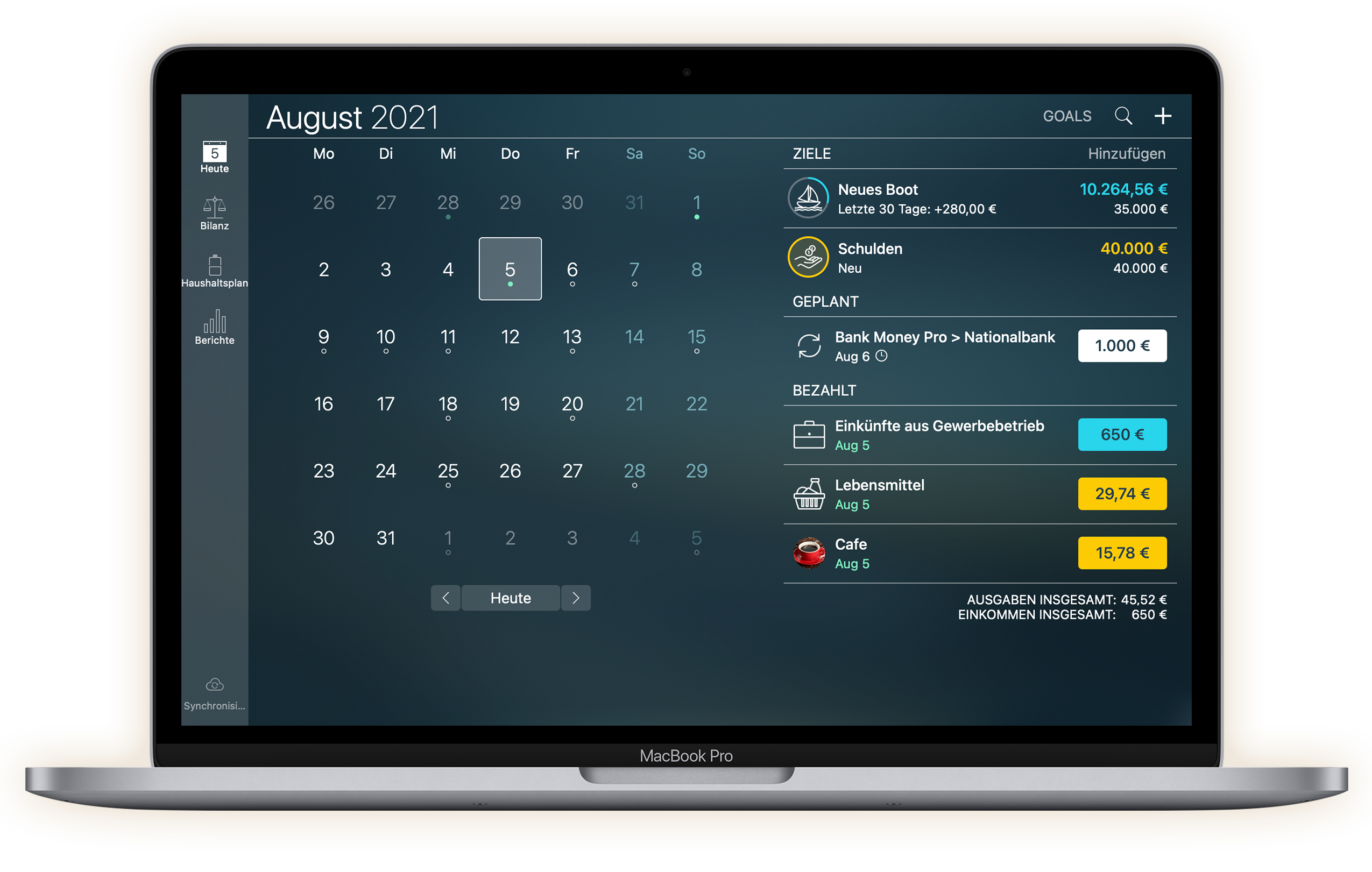 Money Pro - Kalender - Mac