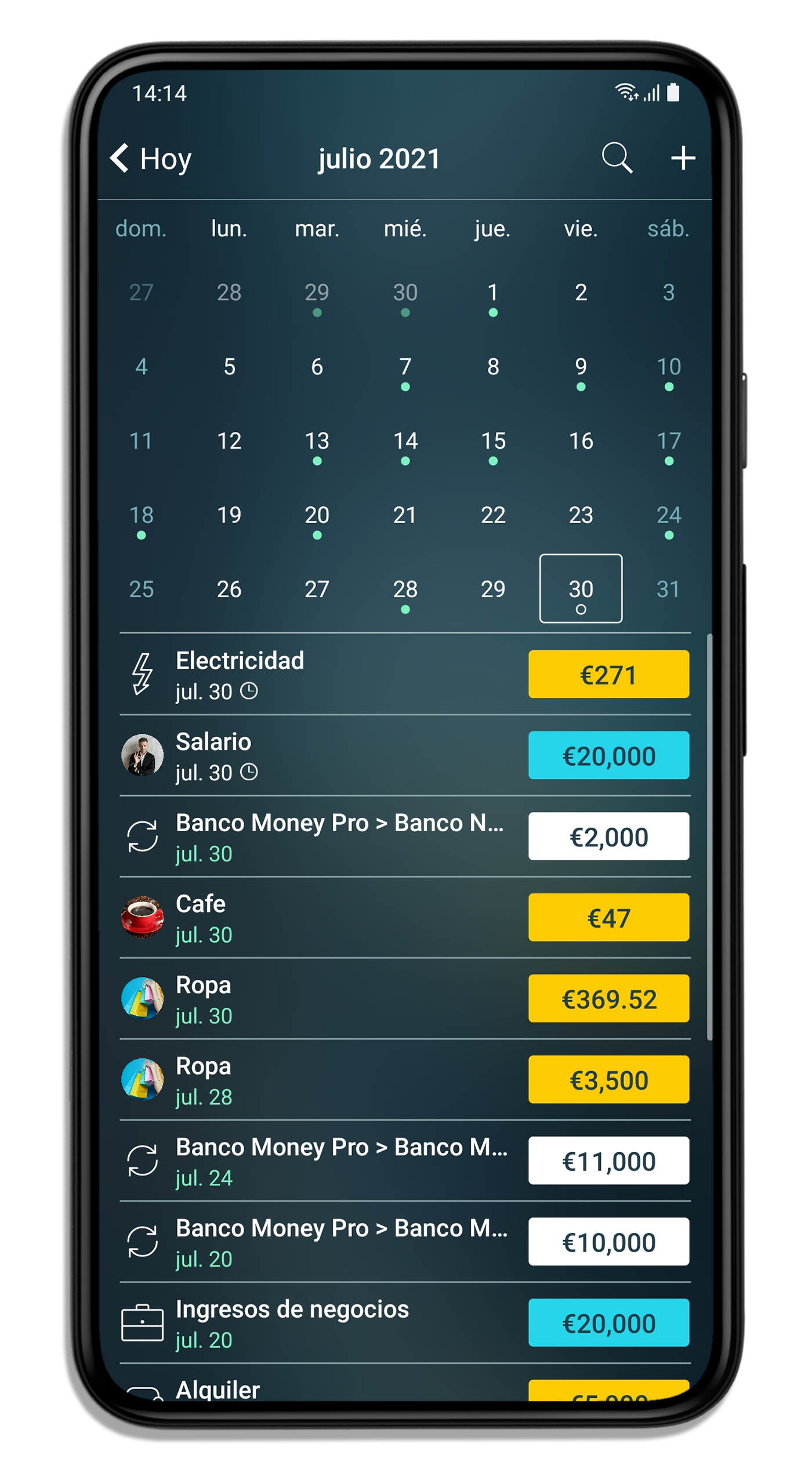 Money Pro - Calendario