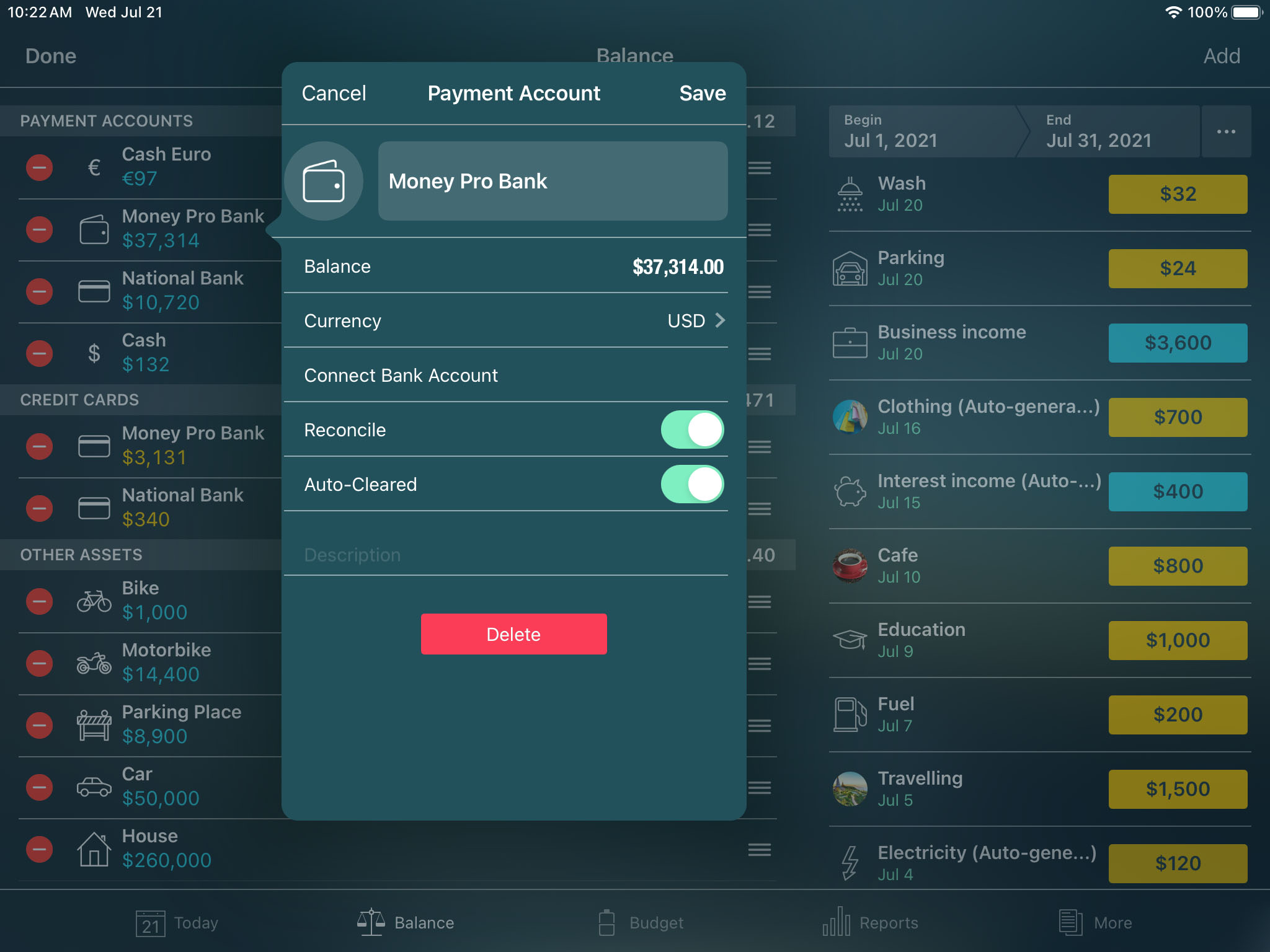 Money Pro for iPad  - Balance - Account Details