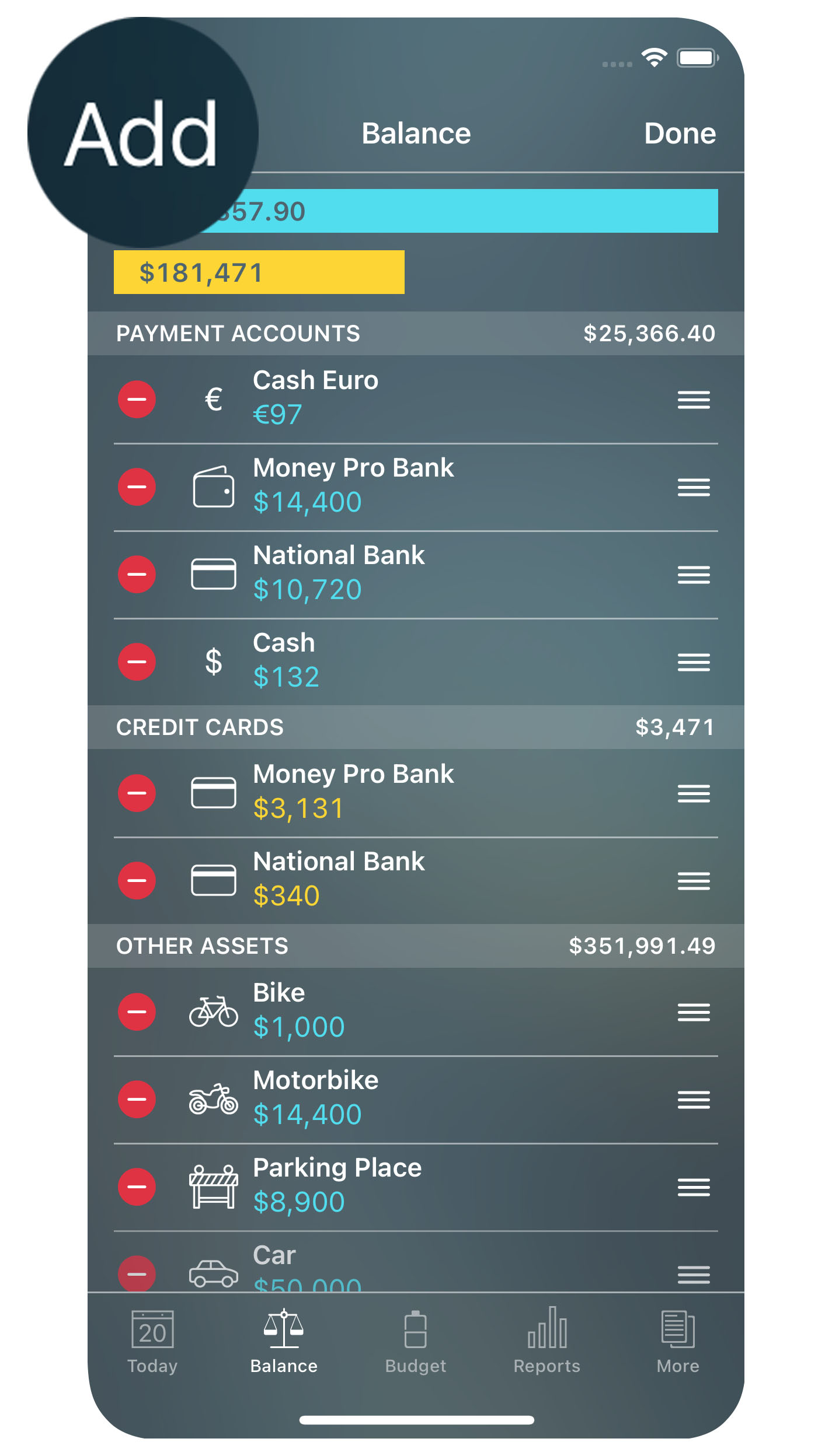 Money Pro for iPhone - Balance - Add