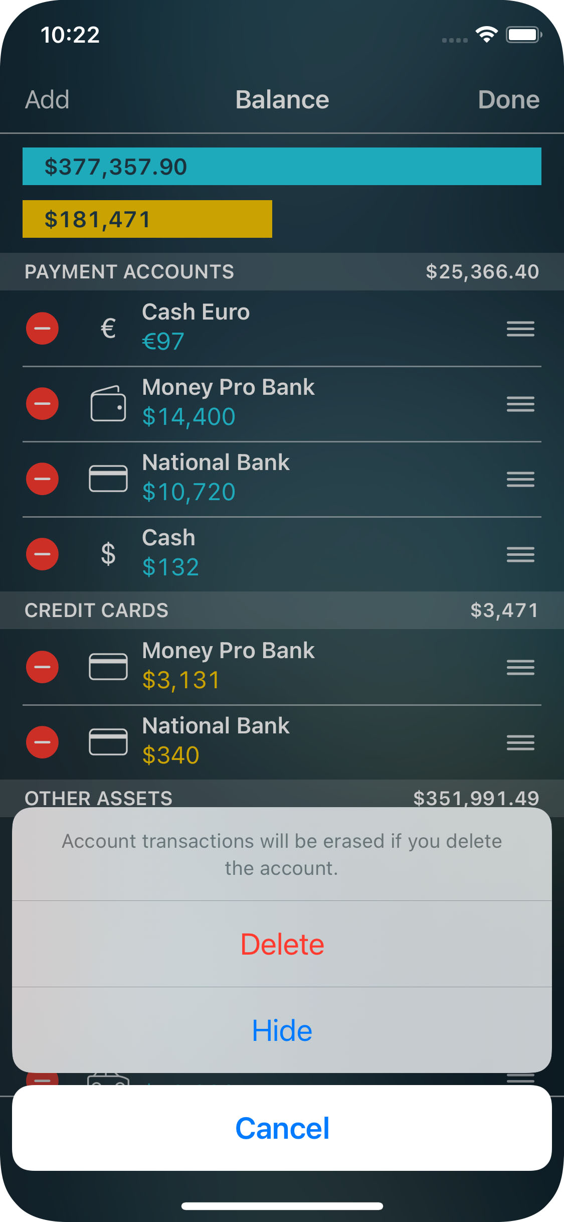 Money Pro - Deleting an account - iPhone