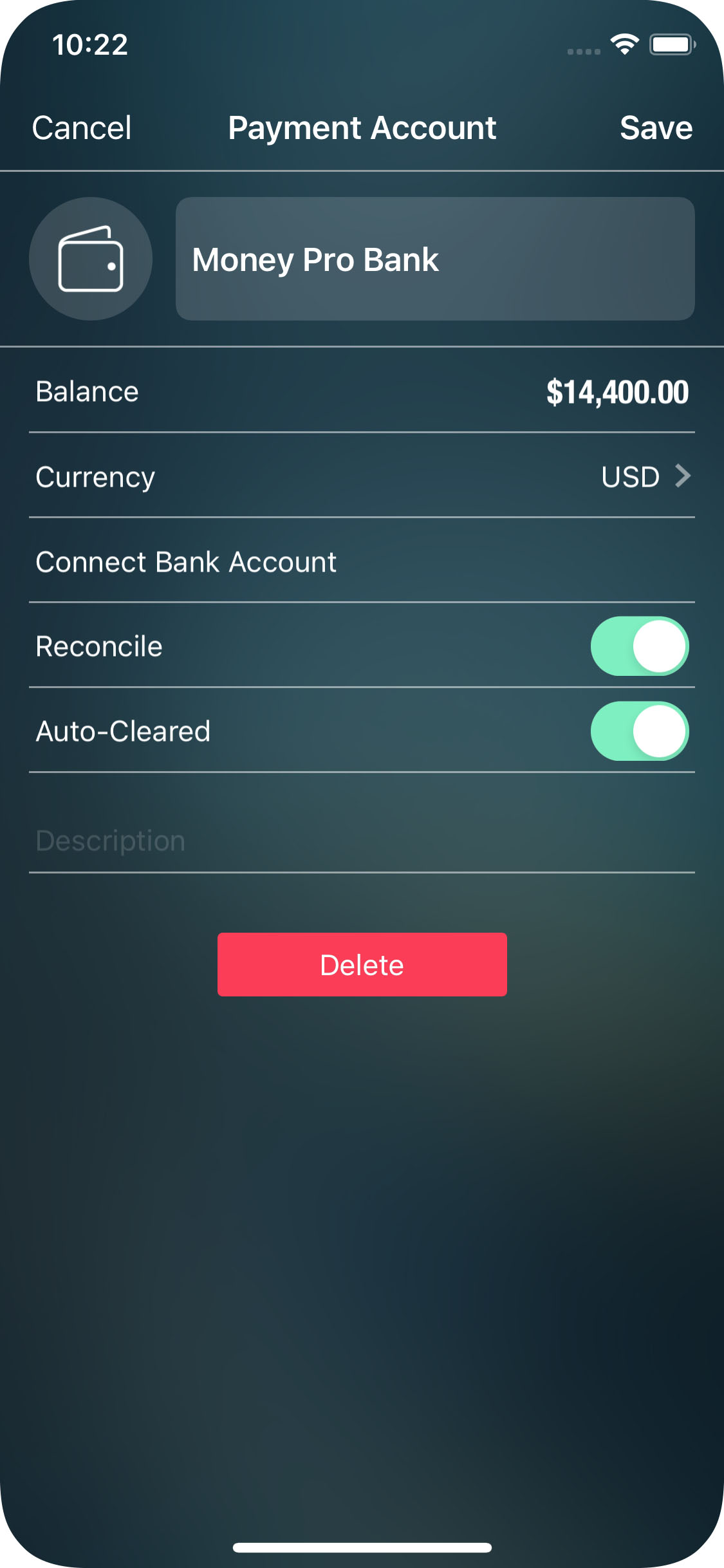 Money Pro for iPhone  - Balance - Account Details