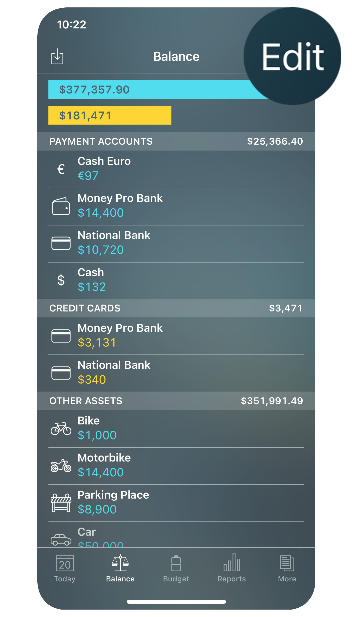 Money Pro - Accounts - Edit - iPhone