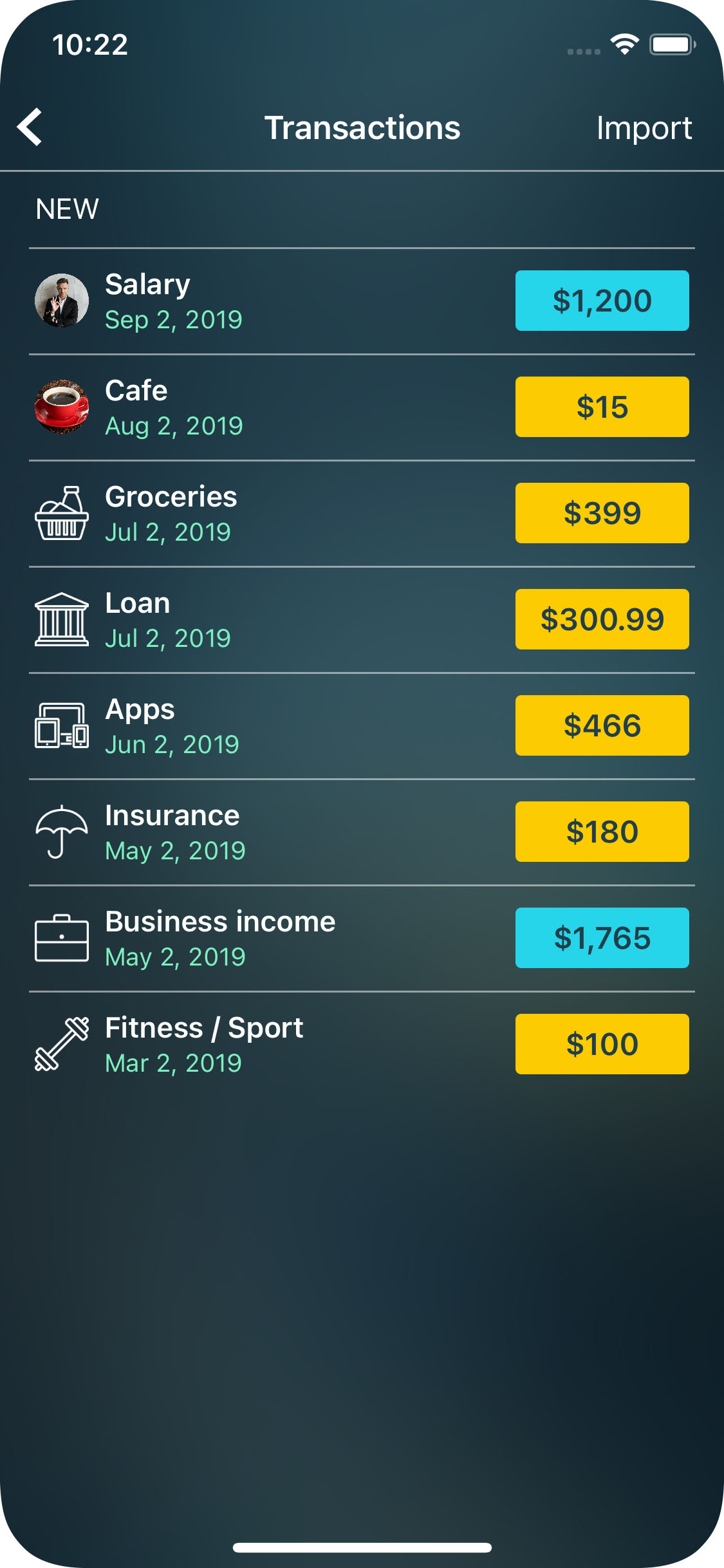 Money Pro for iPhone - Balance - Import - Transactions