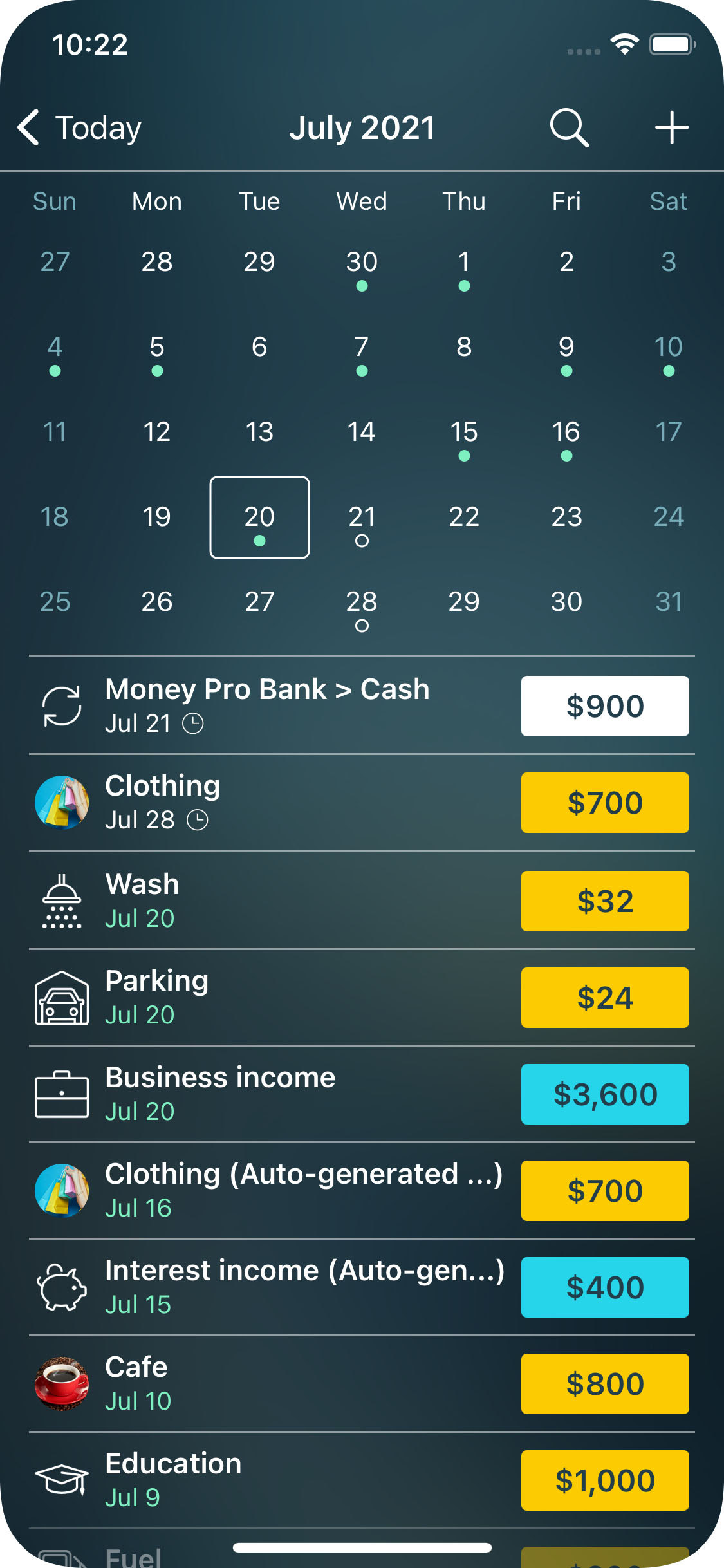 Money Pro for iPhone - Calendar