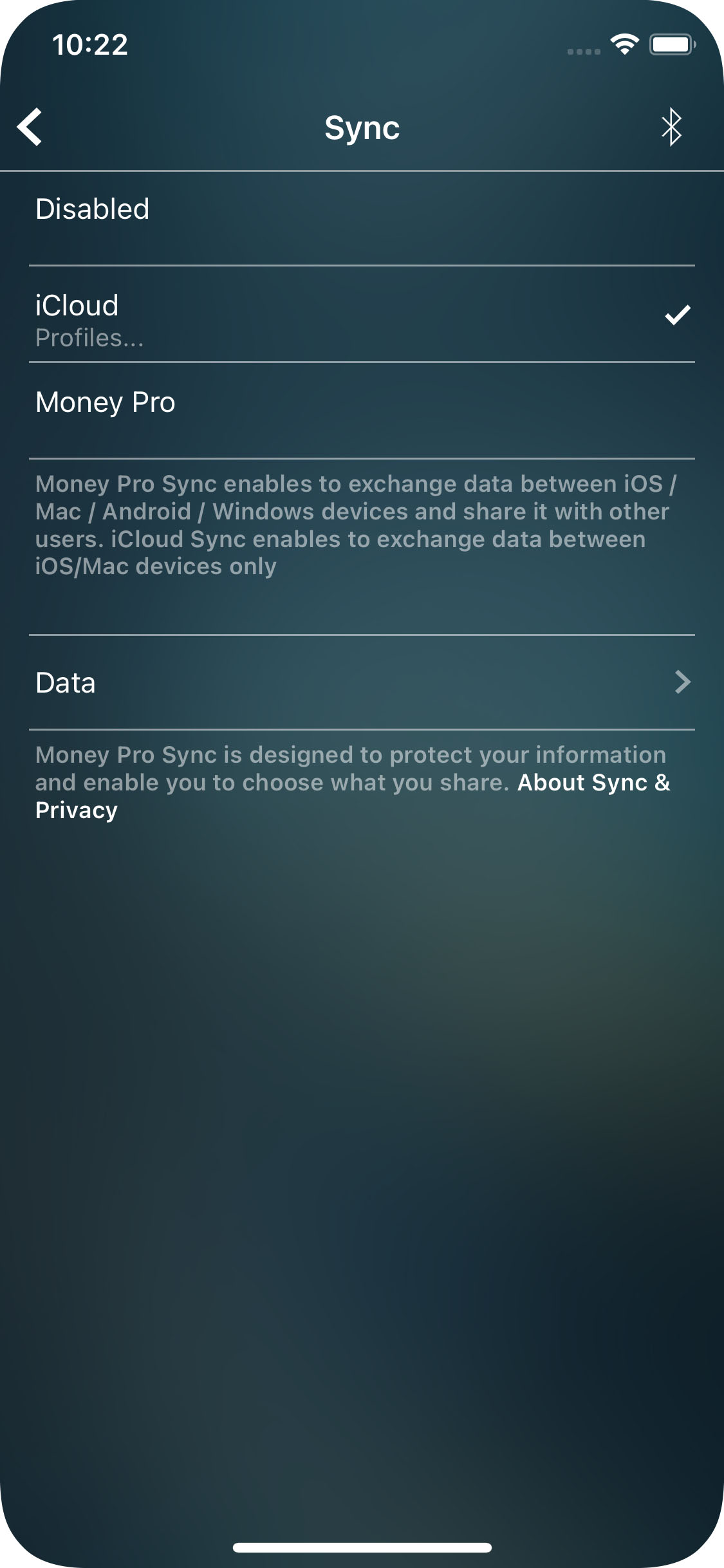 Money Pro for iPhone - Sync