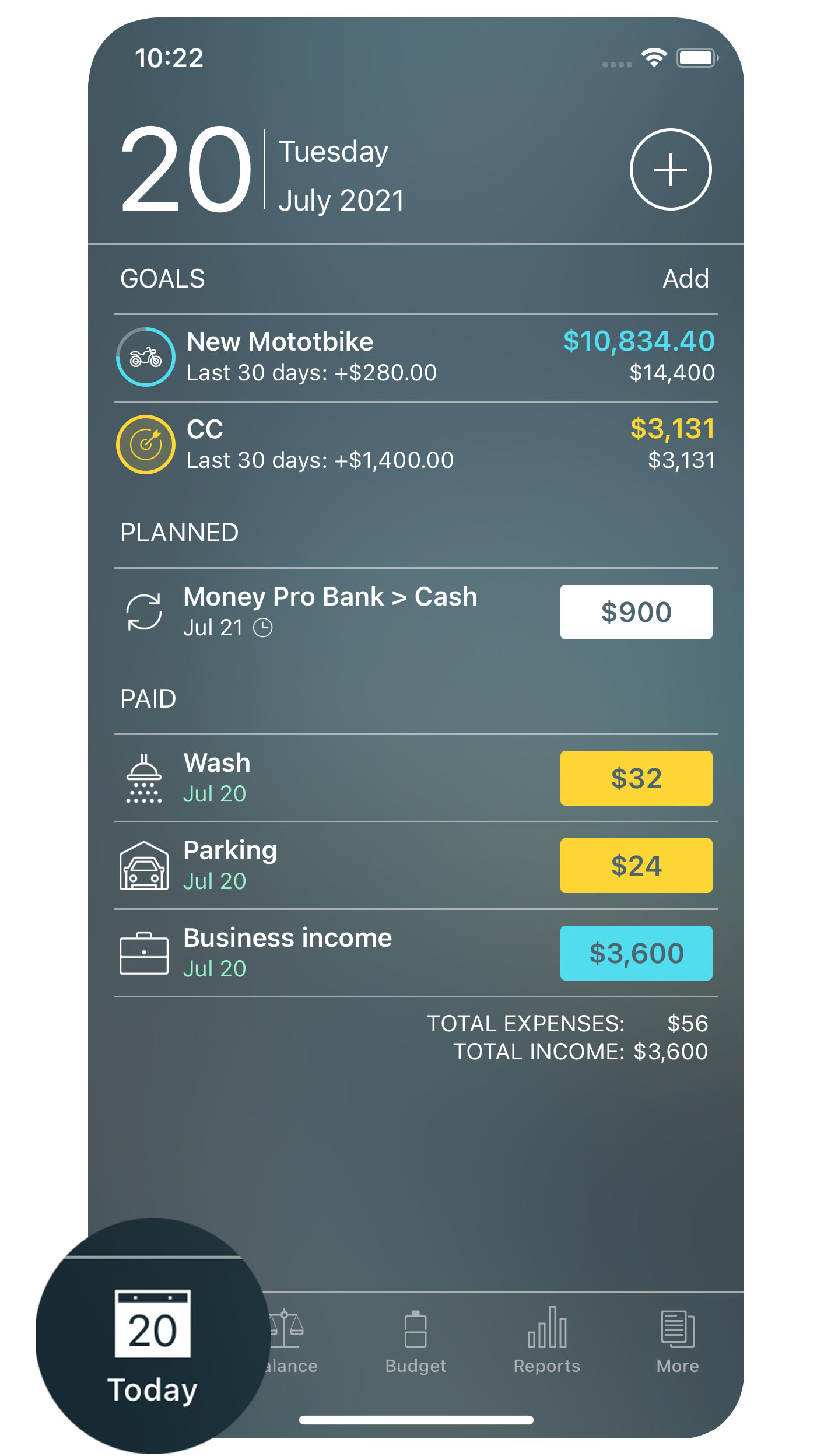 Money Pro for iPhone - Today