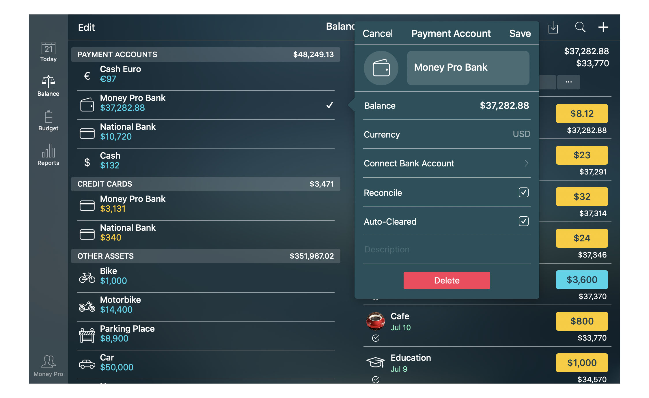 Money Pro for Mac  - Balance - Account Details