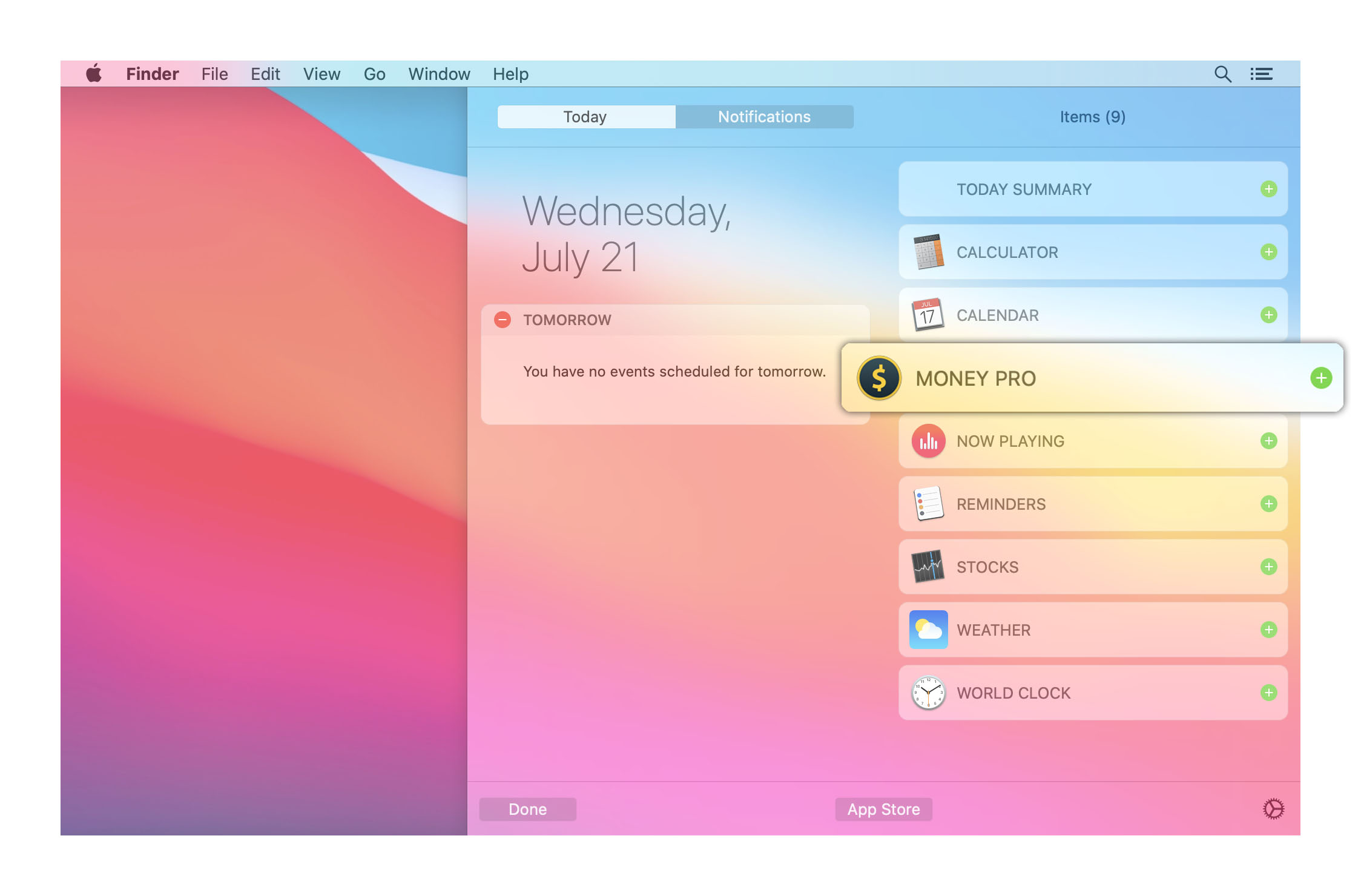 Money Pro - Today Widget - Mac