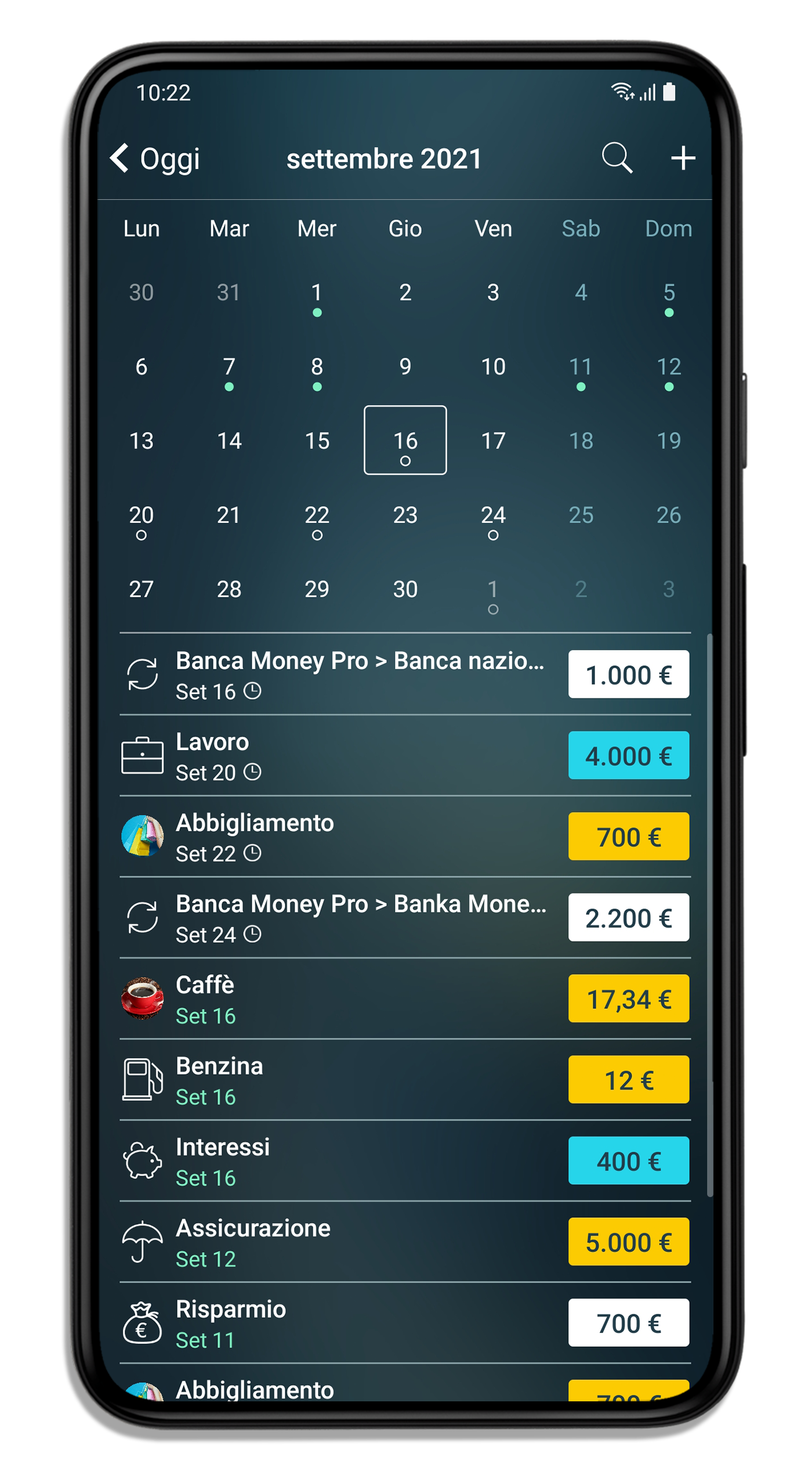 Notifiche Calendario Android.Money Pro Android