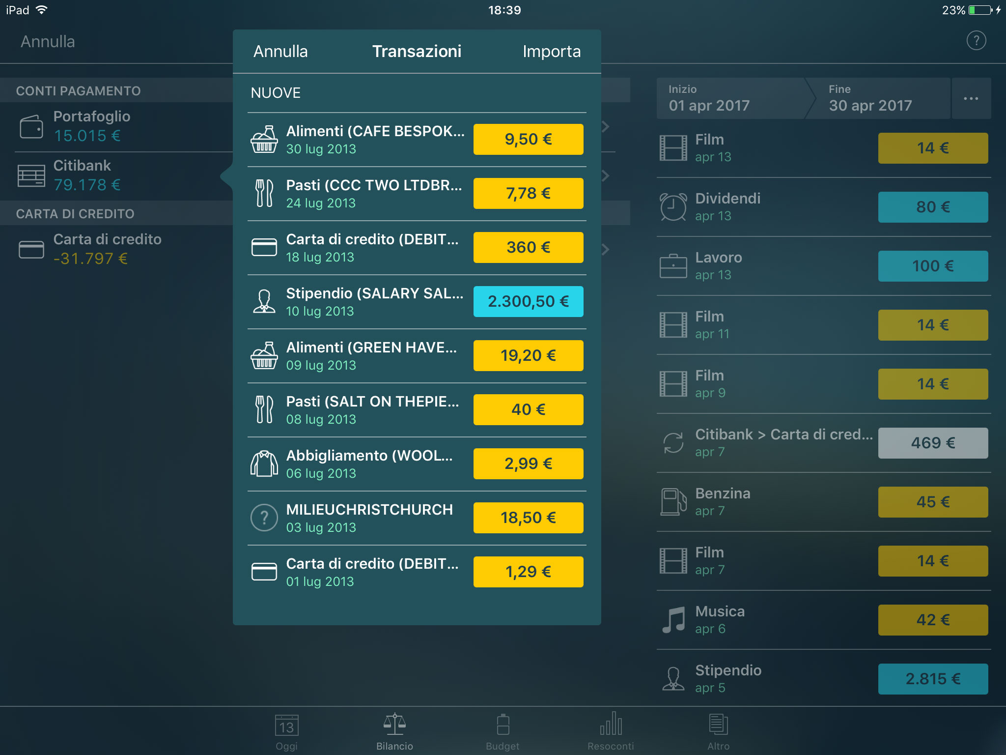 Money Pro - Importazione di file CSV e OFX (iOS, Mac, Android) - iPad