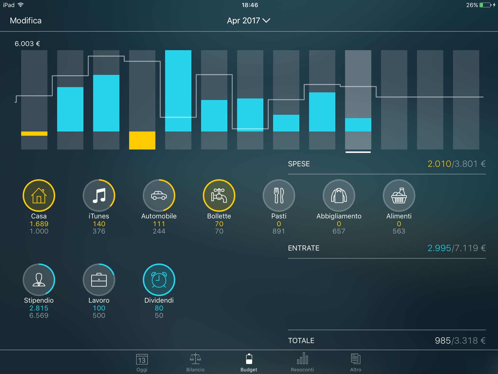 Money Pro - Monitoraggio di un budget (widget Budget) - iPad