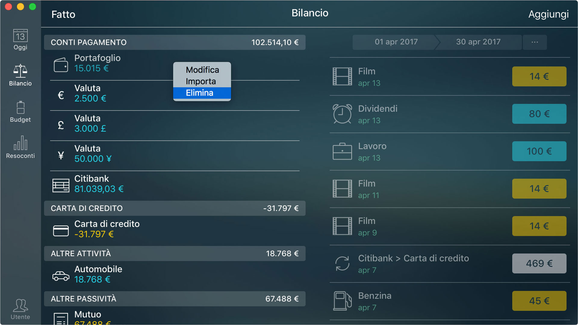 Money Pro - Eliminazione di un conto - Mac