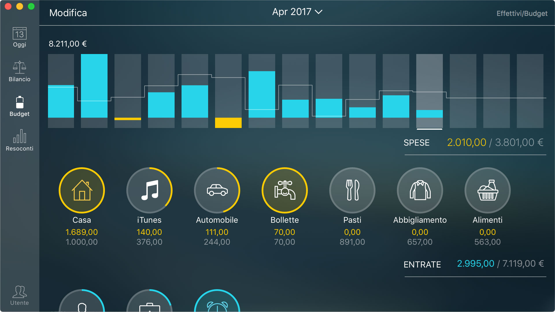 Money Pro - Monitoraggio di un budget (widget Budget) - Mac