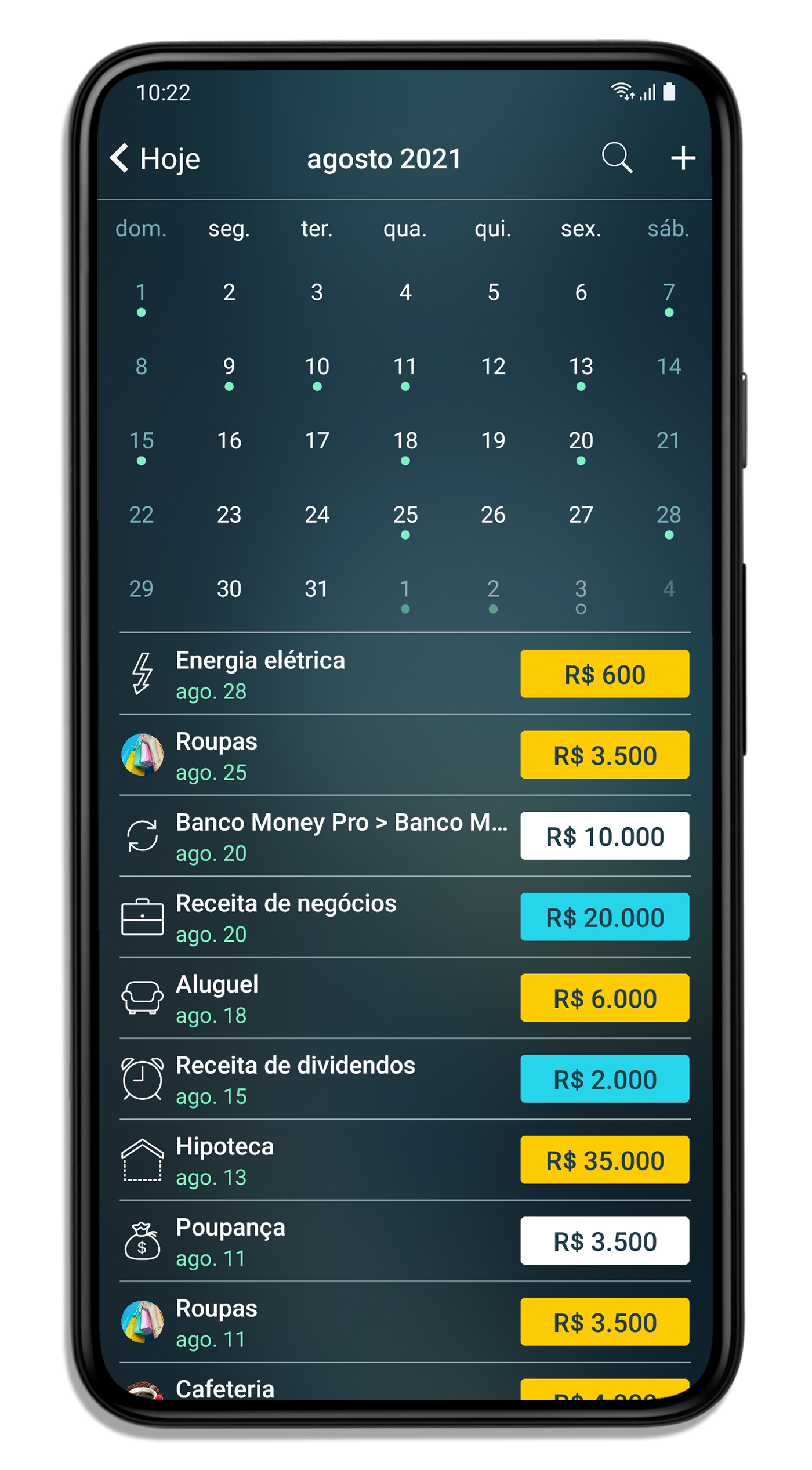 Calendario Android.Money Pro Pagamentos Orcamentos E Contas Correntes Com