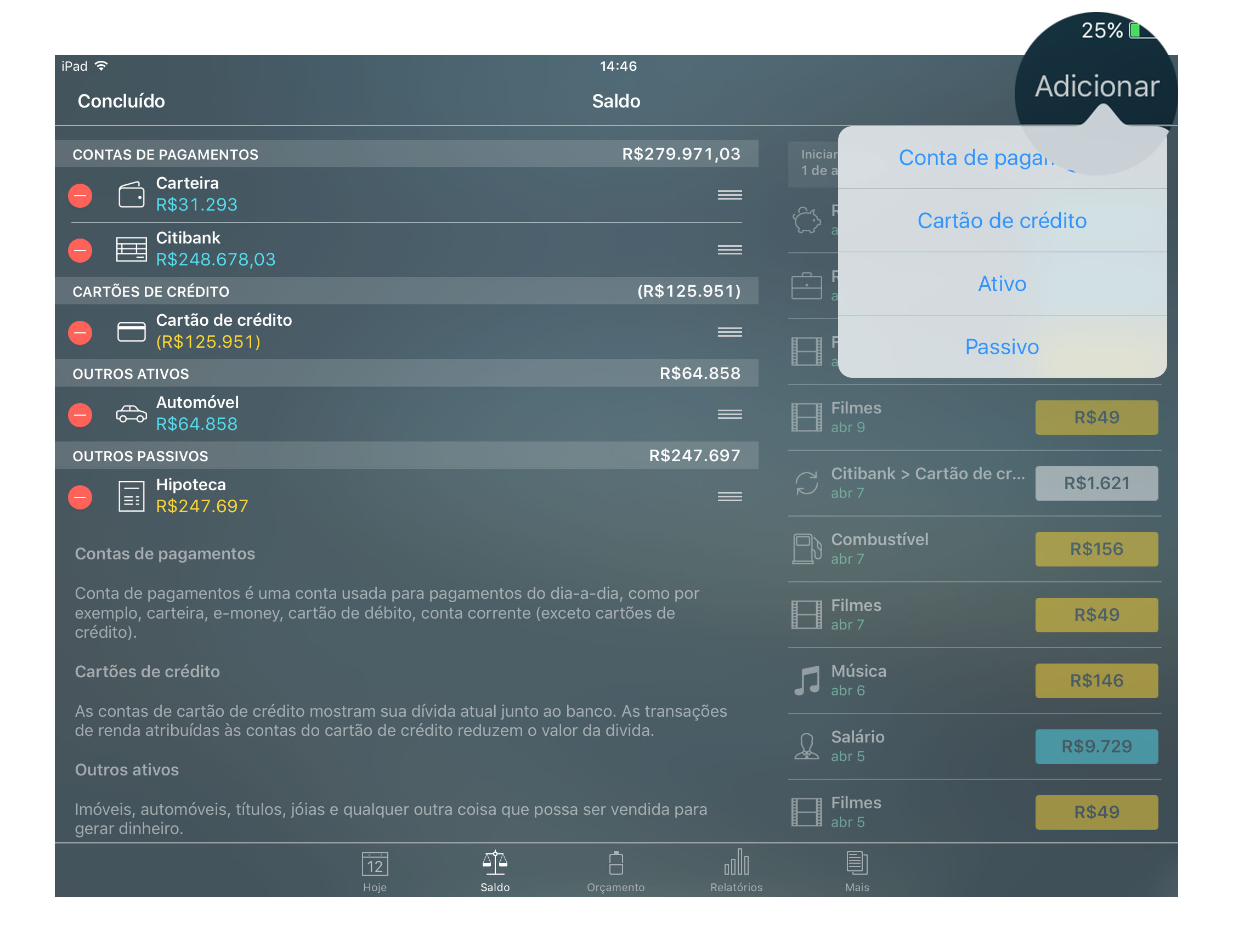 Money Pro - Contas - Adicionar - iPad