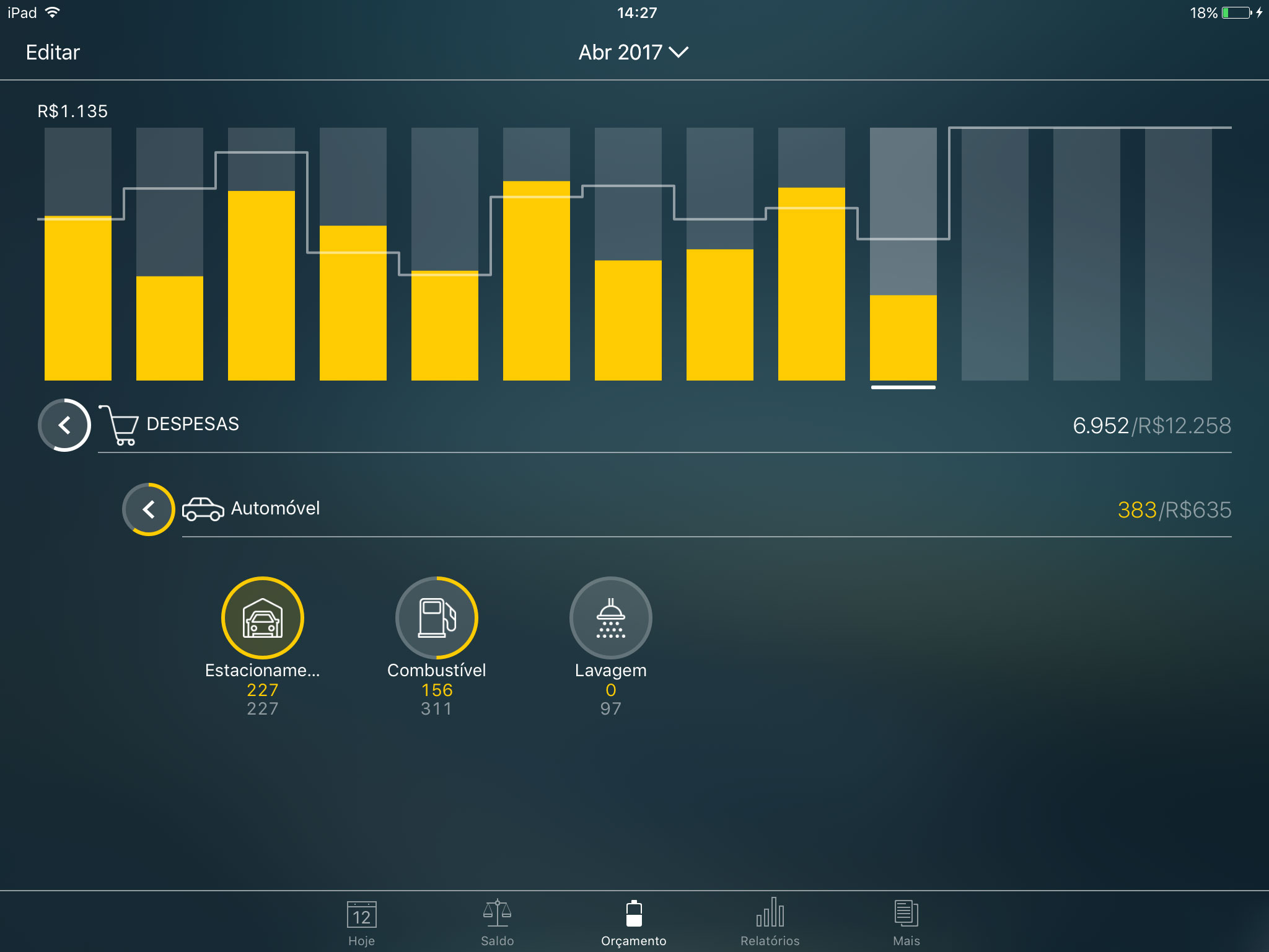 Money Pro - Categorias, subcategorias - iPad