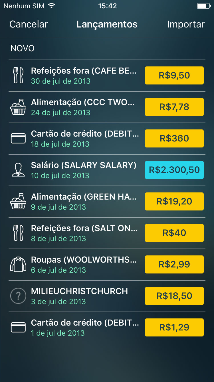 Money Pro - Importação de OFX e CSV (iOS, Mac, Android) - iPhone