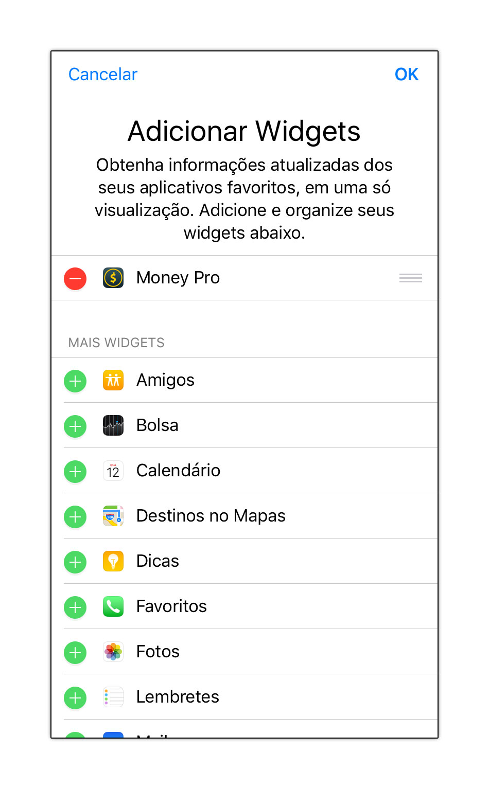 Money Pro - Widget Hoje - iPhone