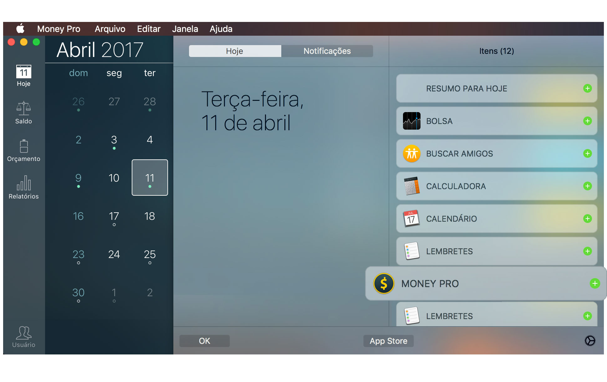 Money Pro - Widget Hoje - Mac