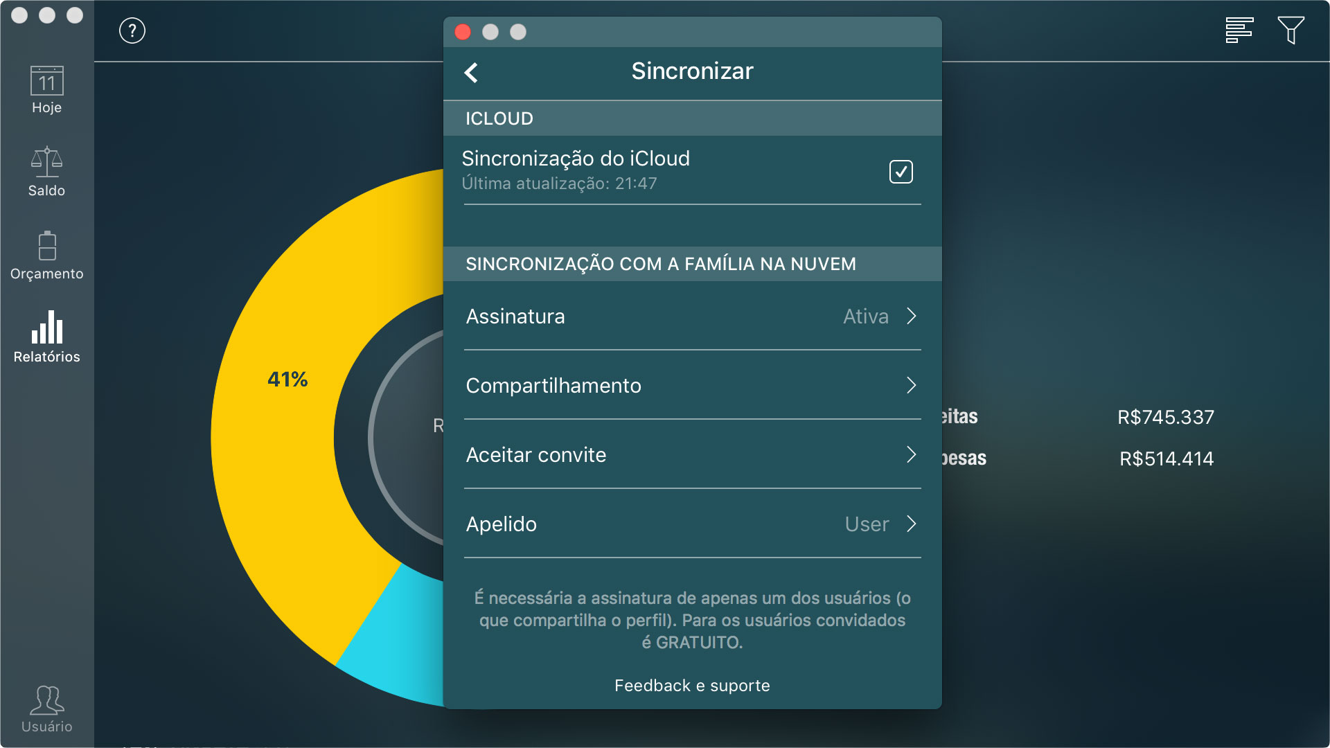 Money Pro - Sincronização com iCloud (iOS, Mac) - Mac